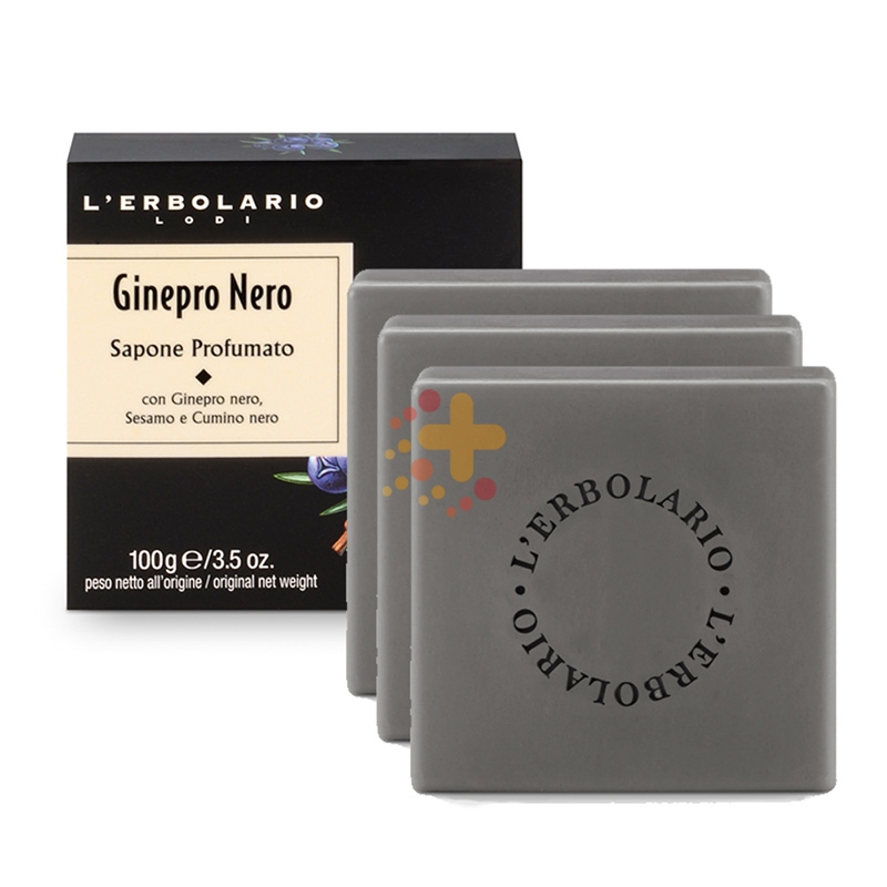 L'Erbolario Linea Uomo Ginepro Nero Fresco e Forte 3 Saponette da 100 g